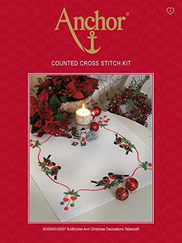 Anchor 9240000-02502 Kit Broderie Point de Croix Motif Père Noël et traineau Chemin de Table, Red, Un