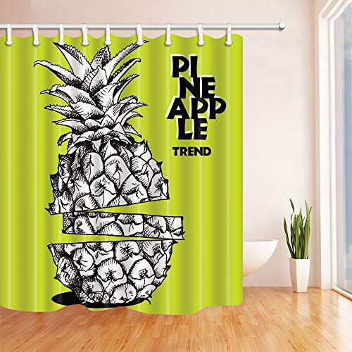 BuEnn Ananas Trend der Skizze Cut Ananas Bad Vorhang Polyester Stoff Wasserdicht Duschvorhang 71X71 in Duschvorhänge Haken Enthalten Weiß Grüngelb