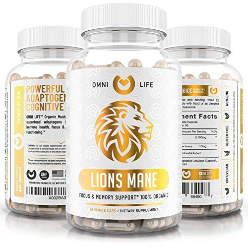 Lions Mane Mushroom Capsules - Organic Max Strength 2100mg + BioPerine - Advanced Nootropic Brain Supplement for Memory & Focus + Immune System Booster - 90 Vegan Capsules.
