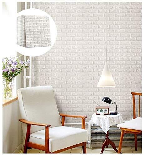 ZHome 3D Brick Wallpaper, PE-Schaum-Selbstklebende 3D-Wand-Aufkleber Tapete Geprägte Brick Keramik-Fliese Steinwandpaneele Abziehbilder Für Schlafzimmer Küche Wohnzimmer-Dekor (weiß) (Size : 20pcs)