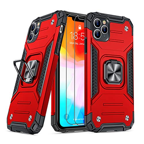 JAME Case for iPhone 11 Pro Max Case with Screen Protectors 2Pcs, Military-Grade Drop Protection, Shockproof Protective Phone Cases Cover Car Mount Ring Kickstand Case for iPhone 11 Pro Max Red