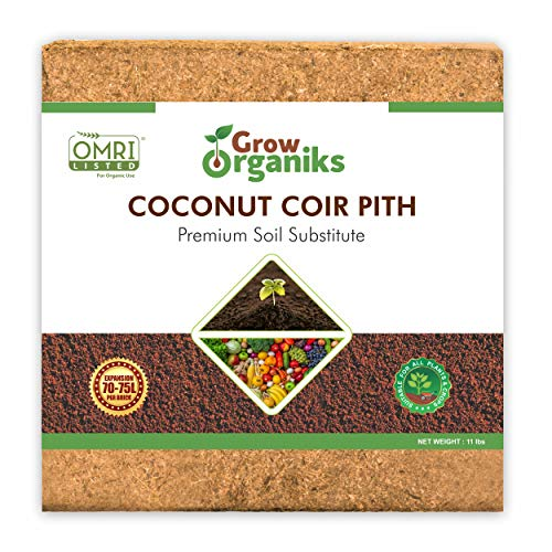Grow Organiks Coco Coir Pith,Coco Peat Brick/Block -11 Lbs,OMRI Listed for Organic Use, Expansion Between 70-75L,Universal Potting Substrate for All Plants & Crops