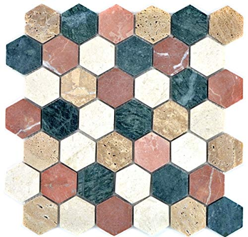 Mozaïek tegel marmer natuursteen crème beige rood groen Hexagon Random MOS42-1213