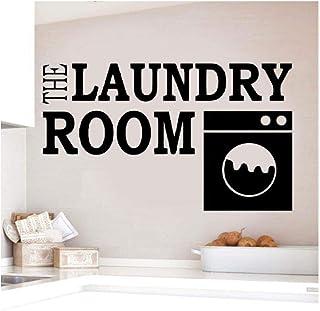LXSHYQ Buanderie Sticker Mural Vinyle Autocollant pour Mur Amovible Buanderie Logo Peintures Murales Citation Style Vinyle...