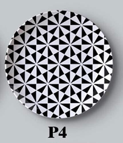 SCHS Schwarzweiss-Malerei kreative Keramikplattehängende Wandbehänge Western Dessert Dish Bakeware dekorative Platte, P4,10inch
