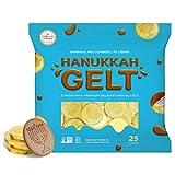 Milk Chocolate Coins - Hanukkah Gelt - Gold Coins - Made with Premium Belgian Chocolate - Gluten Free - Non GMO - Kosher Certified (25 Coins)