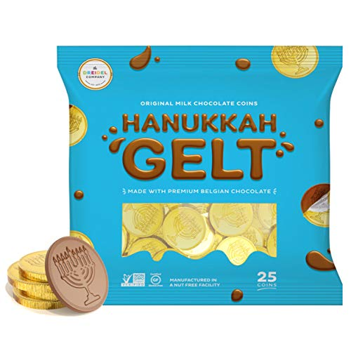 Milk Chocolate Coins - Hanukkah Gelt - Gold Coins - Made with Premium Belgian Chocolate - Gluten Free - Non GMO - Kosher Certified- OUD (25 Coins)