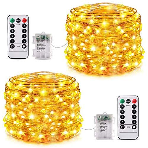 Lucine LED Decorative 12M*2 Pezzi, Catena Luminosa 120 LED Batteria Impermeabile IP65, Luci Decorative da Interni e Esterni Decorative per Camere da Letto Casa Feste Natale Matrimonio (Bianco Caldo)