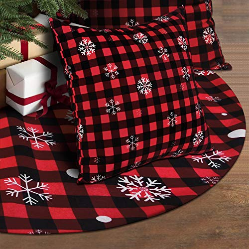 Alishomtll 48 Inches Christmas Tree Skirt with Christmas Pillowcase of 2, Buffalo Plaid Tree Skirt with Plush Faux Fur Trim, Snowflake Tree Skirt for Rustic Xmas Holiday Decorations