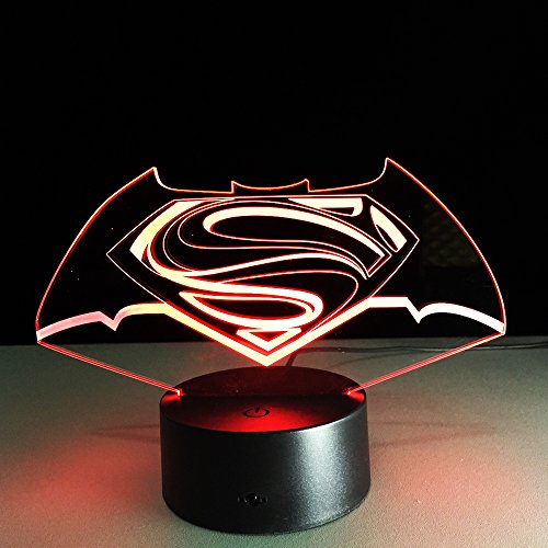 DKIPN 3D Optical Illusion Lamp Led Night Light,16 Colors Gradual Changing Touch Switch Usb Table Desk Lamp For Kids Christmas Birthday Holiday Gifts Or Home Decorations(3D Hero Character Logo Night Li