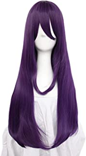 Anogol Hair Cap+Purple Wig with Bangs Long Straight Purple Synthetic Wig for Women Anime