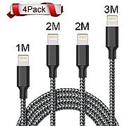 Câble Iphone WZS [Pack de 4] 1M 2M 2M 3M Câble Lightning Vers USB de Nylon Tressé Connecteur en Aluminium Chargeur Iphone Pour iPhone 8 / 8 Plus / 7 / 7 Plus / 6S-Noir Blanc