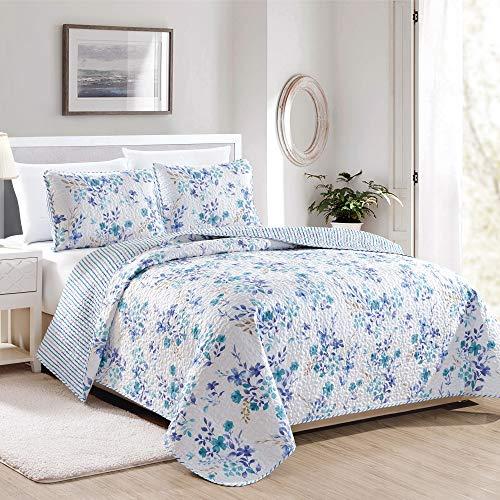 Great Bay Home April Morning Collection 3-teiliges Bettwäsche-Set mit Kissenbezügen Wende-Tagesdecke mit Blumenmuster, maschinenwaschbar (King-Size-Bett, mehrfarbig)