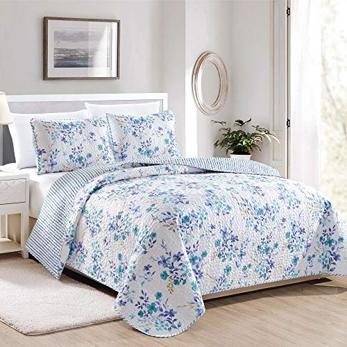 April Morning Collection 3 Piece Quilt Set with Shams. Reversible Floral Bedspread Coverlet. Machine Washable. (Full / Queen, Multi)