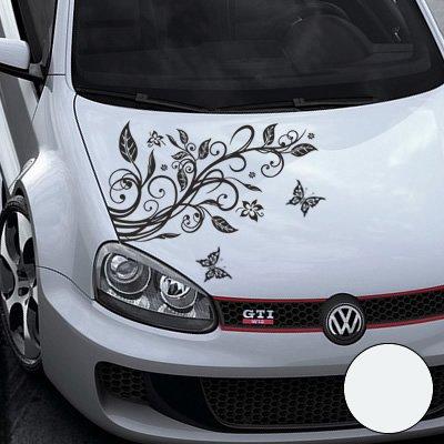 A456 Blumenranke Autoaufkleber + 3 Schmetterlinge 77cm x 50cm weiss (Farb-/Größenwahl)