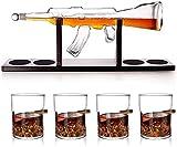 Classic M16 Gun Set Large Decanter Set Balletes, Exquisite 1000ml de 1000 ml Decantador de whisky con 4 gafas de whisky de bala y base de madera de mohogany, con conjunto de cuentas de limpieza, mejor