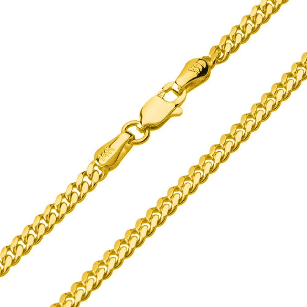 Solid 14k Yellow Gold 2.5mm Miami Cuban Link Chain Curb Necklace with Lobster Clasp
