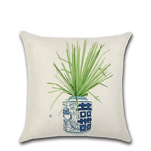 Excelsio Vert Feuille Fleur Plante Housse de Coussin Canapé Lit Salon Chambre à Coucher Home Decor, personnalisé carré Coton Lin Taie d'oreiller Housse de Coussin 45 x 45 cm/45,7 x 45,7 cm