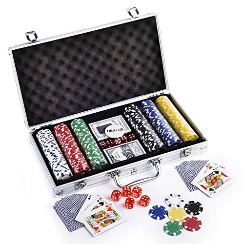 Kids Mandi Casino Style 300 Poker Chips Set for Texas Holdem, Blackjack, Gambling   Comes with Aluminum Carrying Case, Cards, Dealer Button and Dice (300)