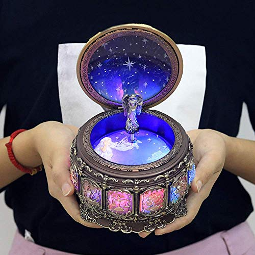 YUXIwang Estatua de 12 constelación de Escorpión Caja de música de iluminación de Colores Regalos de Resina Artesanal creativos de la Novedad del Regalo de cumpleaños Pura música Elegante y Hermosa