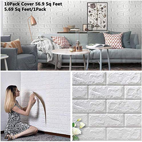 4HOMART Household 10PCS 3D White Self-Adhesive Wallpaper Wall Stickers Tile Brick Foam 70×77cm for Home Office Living Room Bedroom Kitchen (White)