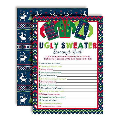 """Ugly Sweater Scavenger Hunt Christmas Holiday Fill In Game Cards, Ten 5"""" x 7"""" Fill In The Blank Cards by AmandaCreation"""