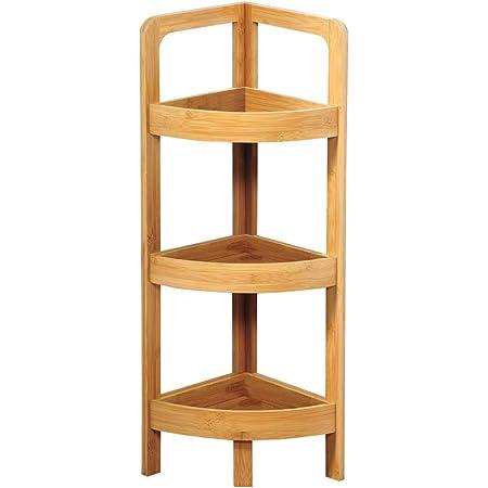 Kesper 19431 - Estantería esquinera de bambú con 3 estantes, 23 x 23 x 77 cm