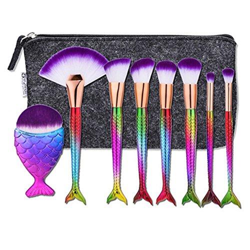Mermaid Makeup Bag,Scofieldly 8 Mermaid Makeup Brush,Beauty Tools Make-up Appliances,2017 Fish ScaleMake Up Brush with Storage Bag