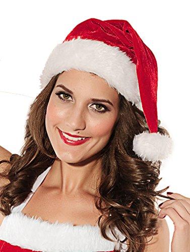 EROSPA® Xmas Weihnachts-Mütze Nikolausmütze mit Pelzrand für Damen und Herren rot/weiß