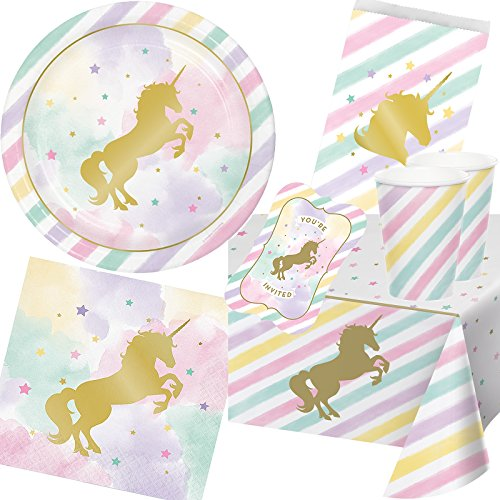 111 pièces Pack de Fête LICORNE d'or * * pour anniversaire d'enfant et Devise Fête avec assiettes + Mug + Serviettes + Invitations + sacs + Nappe + de serpentins + ballons/Décoration/Décoration