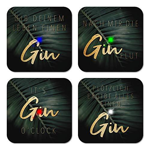 CATDESIGN LED Untersetzer – 4er-Set Gin Zubehör - leuchtende Bierdeckel für Gläser, Flaschen - Zubehör für Cocktail, Bar - Must Have für Gin-Liebhaber – Gin gläser zum leuchten bringen - Gin-Tonic