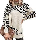 Vestido Jersey Leopardo Punto Mujer Vestir Invierno Sueter Mujer Jerséis Pullover Oversize Gordo Talla Grande Jerseys Modernos Jerseis de Mujer Jumper Dress Suéter Suéteres para Mujer Otoño Caqui L