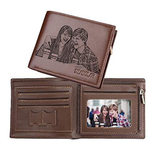 Individuelle Foto-Brieftasche für Männer, Personalisierte Gravur-Brieftasche, Personalisierte Geschenke für Männer, Ehemann, Vater und Sohn