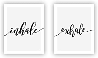 Inhale Exhale Art Print Set of 2 Canvas Wall Art Poster for Black and White Yoga Wall Art for Bedroom or Yoga Room Home Decor No Frame 8X10 inches