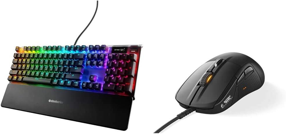 SteelSeries Apex Pro Mechanical Gaming Keyboard & Rival 710 Gaming Mouse - 16,000 CPI TrueMove3 Optical Sensor - OLED Display - Tactile Alerts - RGB Lighting, Black