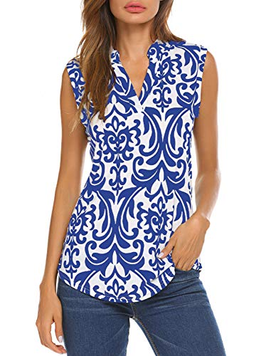 Halife Women's Sleeveless Floral Print V Neck Henley Tank Tops Blouse Shirts Tunic (L, Blue)