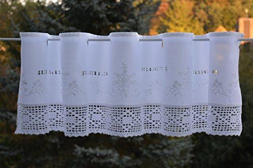 Scheibengardine mit gehäkelter Spitze Bistrogardine Häkelkante Panneaux Kurzstore Ösen Landhaus Spitze Shabby ca. 30x150 cm Weiß