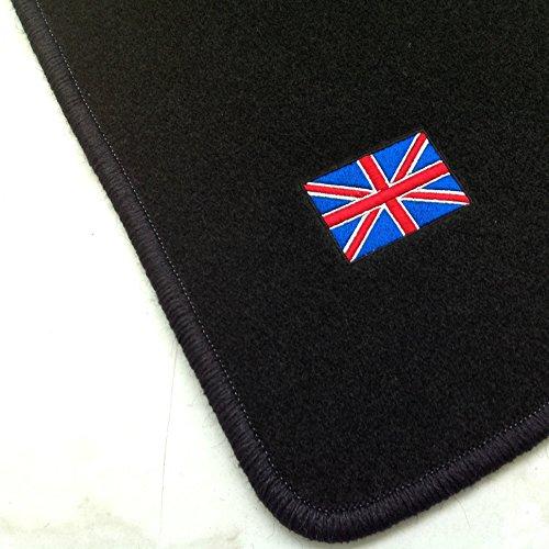 """Passgenaue Fußmatten aus Nadelfilz und schwarzem Rand (300) mit Stick """"britische Flagge"""""""