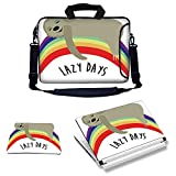 11.6-12 inch Laptop Carrying Sleeve Bag Case with Matching Skin Sticker and Mouse Pad Combo - Lazy Days Phrase with Carefree Sloth Figure on Rainbow Happiness Relaxation Theme