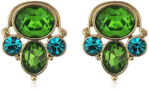 1928 Jewelry Gold-Tone Blue Zircon and Emerald Crystal Cluster Earrings