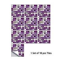Kloxi 10個入り/セットフラットパープルマーブルクリスタルモザイクハードタイルの壁のステッカーの台所食器棚壁紙のホームインテリアピール&スティックアートポスター (Color : MZ 2 092, Size : 10cmX10cmX10pcs)