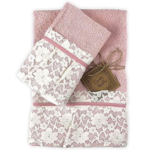 Juego de toallas de baño 100% algodón modelo Valencia 1 + 1 toalla para la cara 55 x 100 cm toalla de invitados 40 x 60 cm (rosa)