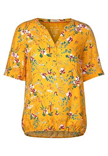 Cecil Damen 341986 TOS Flower Print Tunic Bluse, Mango Yellow, Small