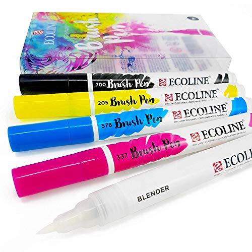 Royal Talens - Ecoline Líquido Acuarela Dibujo Pintura Rotuladores Pincel - Juego de 5 en Plástico Cartera - Primarios