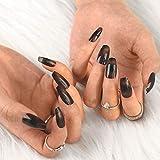 Sethexy Largo Bailarina Uñas postizas Lustroso Negro Ataúd Uñas postizas 24 piezas Degradado Acrílico Arte Presione en las puntas de las uñas para mujeres y niñas