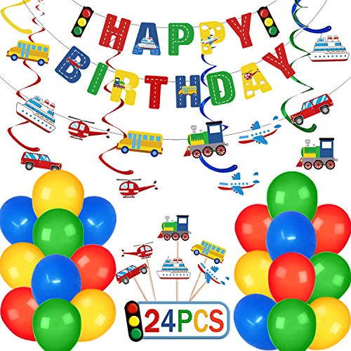 Transportation Birthday Decorations Party Supplies for Kids Boys with Happy Birthday Banner Car Bus Train Plane Ship Traffic Light Garland and Hanging Decorations, 20pcs Party Balloons 24pcs Cake Toppers
