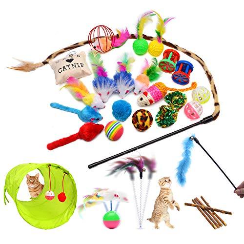 FYNIGO Katzenspielzeug Set mit Katzentunnel,Bälle,Federspielzeug,Plüschspielzeug,Spielzeugmäuse,Katzen Spielzeug Variety Pack für Kitty