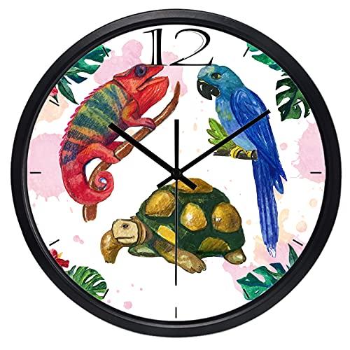 LIMN Reloj de Pared South American Sea Turtle Lizard Parrot Reloj de Pared, sin tictac para Sala de Estar, Mujeres y Hombres, Reloj de Dormitorio | Reloj de Pared | Reloj de Pared Reloj de Pared