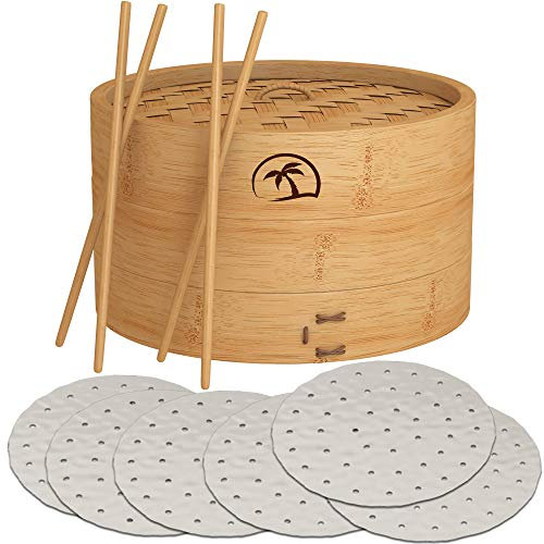 DEALZNDEALZ 3-Piece Bamboo Steamer Basket with Lid 10-inch 2-Tier, 50 Perforated Bamboo Steamer Liners with 2-Pairs of Bamboo Chopsticks