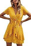 Vestidos Mujer Bohemio Corto Lunares Verano Playa Fiesta Vestido Casual Magas Cortas Cuello en V Noche Playa Vacaciones Amarillo M